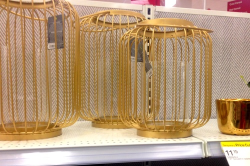 Gold cage candle holders